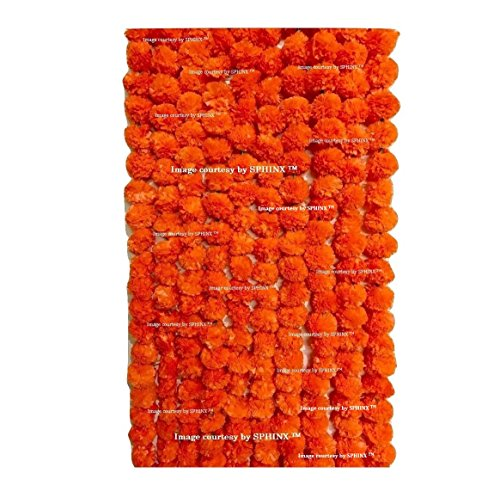 SPHINX Artificial Marigold Fluffy Flowers Garlands for Decoration - Pack of 10 (Dark Orange)