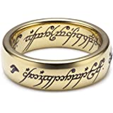 "Herr der Ringe Unisex-Ring ""Saurons Ring"" aus dem kleinen Hobbit Wolfram PVD vergoldet 3009"