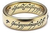 Herr der Ringe Unisex-Ring Saurons Ring aus dem kleinen Hobbit Wolfram PVD vergoldet 3009-062