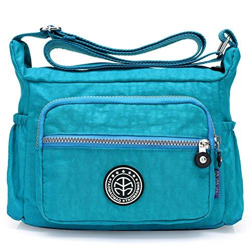 Outreo Umhängetasche Leichter Schultertasche Wasserdicht Taschen Damen Kuriertasche Mode Strandtasche Designer Messenger Bag Sporttasche Blau 2