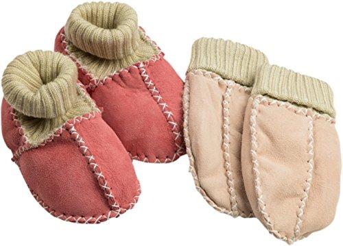 Wärmende Fäustlinge (gigando Leather Crawling Shoes and Gloves For Babys   Babyschuhe und Babyhandschuhe Aus Hochwertigem Leder   Kuschelig Flauschiges Innenfell   Je 1 Paar Schuhe & Fäustlinge   Rosa   21-22  )