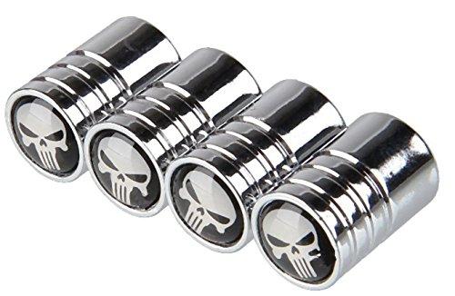Goliton® Reifenventilkappe Schädel Kopf lange Zähnen allgemeine Ventilkappe Ventildeckel Ventilkappe - Silber - Zähne Silber Kappen