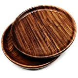 Set Of 2 - Eco-friendly Handmade Round Shaped Wooden Serving Plates For Home And Kitchen Use | Natural Coloured Tray, Platter By DAISYLIFE (10 IN)