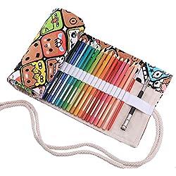 Abaría - Bolso para lápices, Estuche Enrollable para 36 lapices Colores, portalápices de Lona, Bolsa Organizador lápices para Infantil Adulto, Dibujos Animados 36