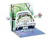 Pop UP 3D Karte Hochzeit Mini Karte Grußkarte Hochzeitsreise 7,6x7,6cm