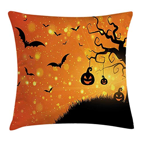 row Pillow Cushion Cover, Magical Fantastic Evil Night Icons Swirled Branches Haunted Forest Hill, Decorative Square Accent Pillow Case, 18 X 18 inches, Orange Yellow Black ()
