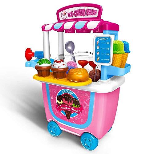 spiel Spielwaren Spielzeug Set Lernspielzeug Ice Cream Wagen mit Robusten Koffer Pretend Play Toys Geburtstags Weihnachts Geschenk für Kinder ab 3 Jahren 31 Stücke-Eiswagen Trolley ()