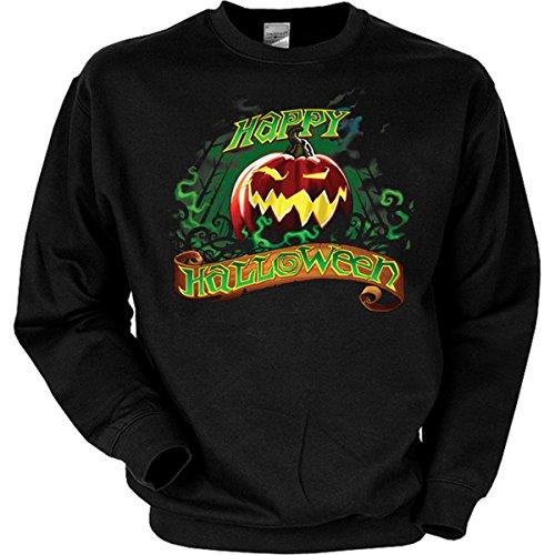 Perfekt für Halloween! Gruselmotiv: Happy Halloween Sweatshirt Farbe schwarz, Größe XXL