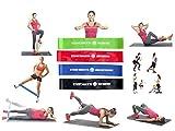 Bandas de resistencia elástico Fitness–Pack 4Mini Loop–4niveles de resistencia diferentes para ejercicios Musculación, Squat, Crossfit, rehabilitación–entrenamiento funcional alto del cuerpo, piernas, glúteos, abductores. Calidad alta performance–Latex 100% naturel- soft-touch