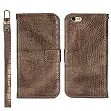 BoxTii Coque iPhone 6 / iPhone 6S, Coque en Cuir Crocodile Motif, Housse Magnetique avec Lanière et Gratuit Protection D'écran en Verre Trempé pour Apple iPhone 6 / iPhone 6S (Brun)
