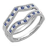 DazzlingRock Collection  -  10 K  Weißgold Rundschliff   Getöntes Weiß/Top Cape (K) blau Diamant Saphir