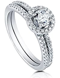 BERRICLE Rhodium Plated Sterling Silver Halo Promise Ring Set Made with Swarovski Zirconia
