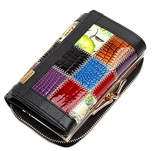 Ghlee High-End Drei Fold Damen Mädchen Leder Brieftasche Gitter Handtasche Kleine Brieftasche Handtasche Kupplung lange Geldbörse schwarz (High-end Damen-geldbörse)
