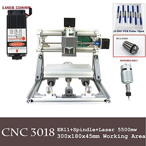 Mini DIY cnc3018+ 5500MW Laser Grbl Kontrolle, 3axis PCB PVB Fräsmaschine, Holz Router Graviergerät CNC 3018 (Mw 100 Laser)