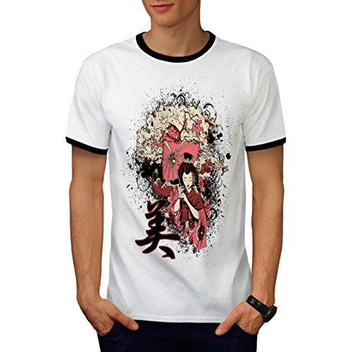 Geisha Sakura Kunst Fantasie Kostüm Perücke Herren S Ringer T-shirt | Wellcoda