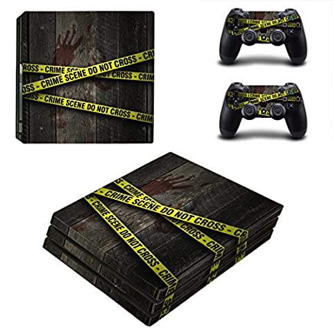 Pandaren® full skin sticker faceplates for PS4 PRO console x 1 and controller x 2 (crime scene) [Instruction in image lists] Not compatible for OLD version PS4