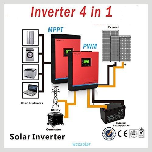 wccsolar INVERSOR HIBRIDO Inverter Solar 3KVA 24V Onda Pura MPPT 60A INVERSOR+REGULADOR+Cargador 3 EN 1