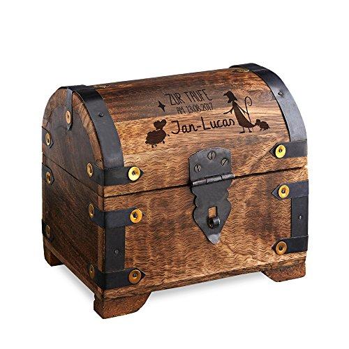 Casa Vivente Geldschatztruhe aus dunklem Holz mit Gravur zur Taufe, Motiv Hirte, Personalisiert mit Namen und Datum…