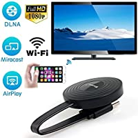 Inalámbrico WiFi Pantalla HDMI 1080P Full HD Receptor de televisión Adaptador Soporte Wecast Chromecast para Netflix Youtube Miracast Airplay Mirroring para Android/Mac/iOS/Windows