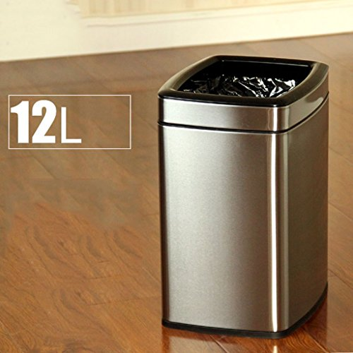 Mülleimer Trash Can Double Layer Edelstahl Square Mode Ideen Home Wohnzimmer Schlafzimmer Storage Barrels (Farbe : Silber) (Schlafzimmer Storage-ideen)