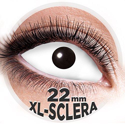 Sclera Kontaktlinsen XL 22mm - 2 Stk. Farblinsen in Top Qualität - Zombie Hexe Vampir Horrorclown - perfekt für Halloween Horror, Fasching, Karneval & Co. - PARTYMARTY GMBH (Weiss)