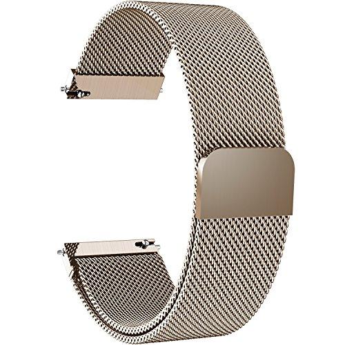 Fullmosa 20mm Uhrenarmband, Smart Watch Armand Ersatzband mit Edelstahl Magnet-Verschluss für 20mm Gold - Frauen Coach Uhren Gold