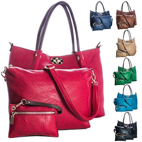Big Handbag Shop 3-in - 1 Kunstleder-Handtasche Schultertasche Shopper, goldfarbene Schnallen schwarz