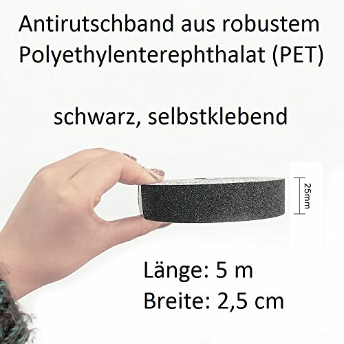Anti Slip Tape For Safety Tape Strip 5 m x 2.5 cm in Black, black