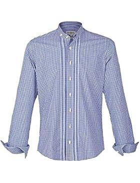 Almsach Herren Stehbundhemd Slim-Fit Vichy blau 'Richy', blau,