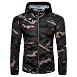 Herren Langarm mit Kapuze Anti-Sunshine Camouflage Casual Sport Zipper Hoodies(XXL,armygreen)