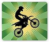 Gaming Mauspad, Dirt Bike Mauspad, Sternen-Streifen und Halbton-Stil, Hintergrund Reiter, Standardgröße, rechteckig, rutschfest, Gummi-Mauspad, Hellgrün, Schwarz und Hellgelb