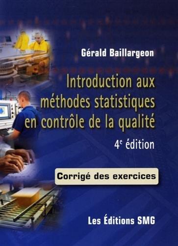 Introduction aux méthodes statistiques en contrôle de la qualité : Corrigé des exercices