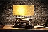 Tischleuchte handgefertigt Design perifere Treibholz beige