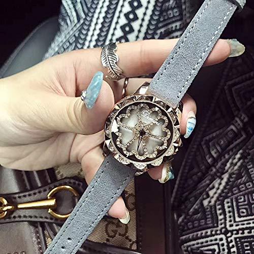 GUOZBIAOA Damenuhr Top-Qualität Lady Crystal Watch Frauen Kleiden Uhr Mode Leder Rotation Weibliche Herzform ArmbanduhrenGrau (Uhren Womens Crystal)