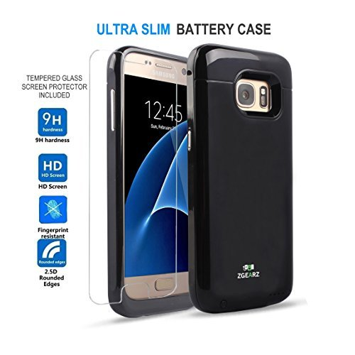 Galaxy S7 Slim Battery Case + BONUS Tempered Glass Screen Protector ZgearZ 3000 mAH Super Light Charger External Power Pack. Use this Protective Extended Charging Cover Case as Galaxy Backup Power