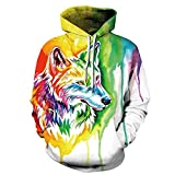 AMOMA Jungen Digitaldruck Kapuzenpullover Tops Fashion Hoodie Pullover Hooded Sweatshirt (Small/Medium, Color Wolf)