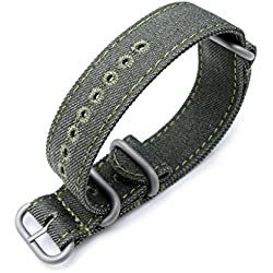 Zulu 20mm Military Green Watch Strap, Stitching Green, MiLTAT Thick X2 Washed Canvas
