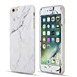 For iPhone 7 Plus 5.5 inch Case,Premium [White Marble Pattern] Slim-Fit Anti-Scratch [Stone Texture Collection] with [Tempered Glass Screen Protector] Shockproof TPU Bumper Soft Case 360 Degree Full Protective Cover for Apple iPhone 7 Plus [5.5 inch] - White