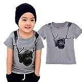 Junge T-Shirt, Sonnena Baby Junge Kurzarm Kameras Druck T-Shirt Tops Kindermode Tägliche Baumwolle Sommerkleidung Jungenkleidung Activewear Activewear Pullover (1-2 Jahre, Grau)