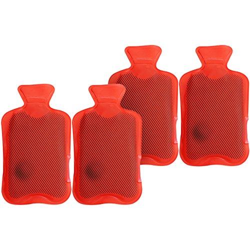 com-four® 4X Taschenwärmer Wärmflasche im klassischen rotem Design (04 Stück - Wärmflasche)