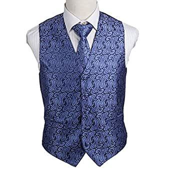 EGD2B06C-3XL Blue Purple Patterns Microfiber Beautiful Waistcoat Neck Tie Set Various For Party By Epoint