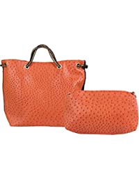Bulls Hide Combo Of Brown Faux Leather Women's Handbag & Pouch - B074RDQCMC
