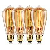 Wedna Retro Edison Glühbirne ST64 60W Classic Eichhörnchen Käfig Licht antiker Stil Lampe E27 Schraube 220V- 4 Stück