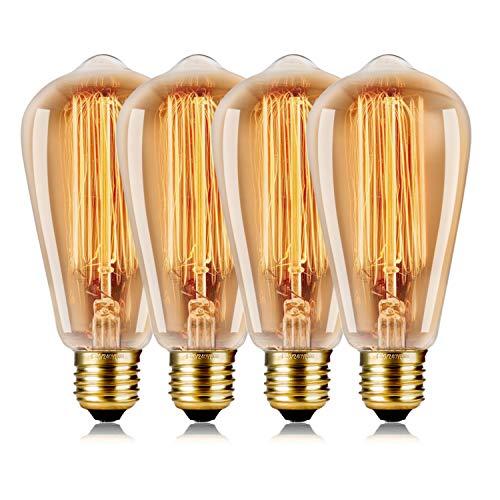 WEDNA Vintage Edison Bombilla 4 Piezas 60w Regulable ST64 E27 Tornillo 220V-240V - Edison Lámpara de vidrio Filamento de tungsteno