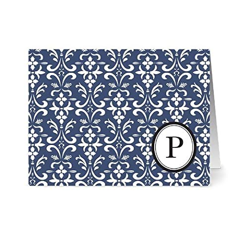 Modern Floral Damask 'P' Navy Monogram - 24 Cards for 7.49 - Blank Cards w/ Grey Envelopes Included by Note Card Cafe