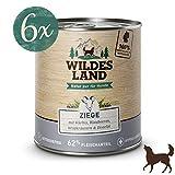 Wildes Land | Nassfutter für Hunde | Ziege | 6 x 800 g | mit Kürbis, Blaubeeren, Wildkräutern und Distelöl | Glutenfrei | Extra viel Fleisch | Beste Akzeptanz und Verträglichkeit