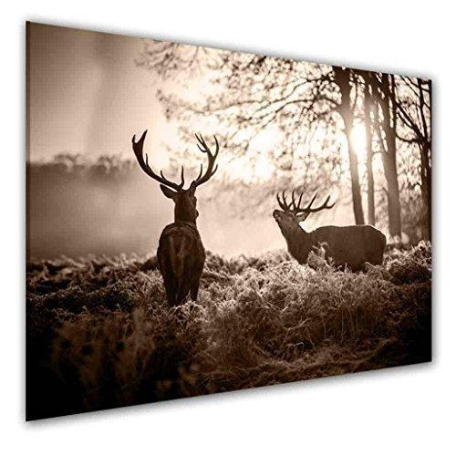 Drei-tier-natur (BILDER-MANUFAKTUR LEINWAND KUNSTDRUCK WANDBILD BILD BILDER, 8065 Farbe 3, 70 cm x 45 cm HIRSCH WALD HIRSCHKUH BERGE NATUR TIER)