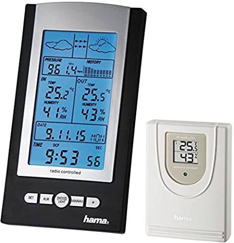 Hama Station Météo sans fil EWS-800 (horloge radio, thermomètre, hygromètre et baromètre, capteur extérieur inclus avec portée de 100 m), Noire