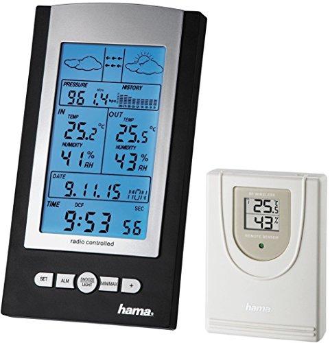 Hama-Funk-Wetterstation-EWS-800-Funkuhr-Thermometer-Hygrometer-und-Barometer-inkl-Auensensor-mit-30m-Reichweite-schwarz