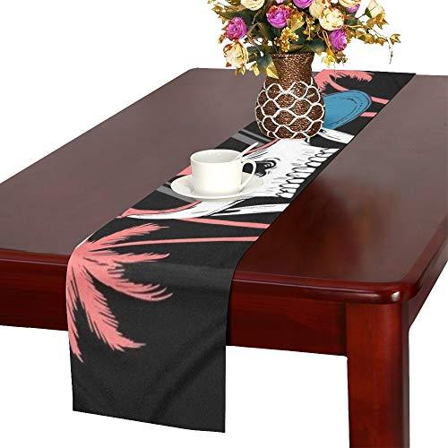 YSJXIM Kühle Schädel Palm Trees Los Tischläufer, Küche Esstischläufer 16 X 72 Zoll für Dinner Parties, Events, Dekor
